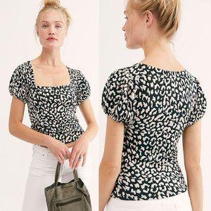 NWT Free People Leopard Puff Sleeve Tee Pine Black